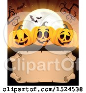 Clipart Of A Parchment Scroll Under Halloween Jackolantern Pumpkins A Full Moon And Bats Royalty Free Vector Illustration by visekart