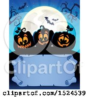 Clipart Of A Parchment Scroll Under Black Halloween Jackolantern Pumpkins A Full Moon And Bats Royalty Free Vector Illustration