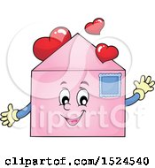 Clipart Of A Valentine Envelope Character With Love Hearts Royalty Free Vector Illustration