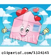 Valentine Envelope Character With Love Hearts Over Sky
