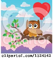 Clipart Of A Valentines Day Owl On A Branch Holding A Heart Balloon Royalty Free Vector Illustration