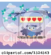 Clipart Of A Valentines Day Owl On A Swing Holding A Heart Sign Royalty Free Vector Illustration