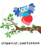 Clipart Of A Valentines Day Owl Flying With A Heart Royalty Free Vector Illustration