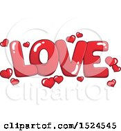 Clipart Of A Red Word Love With Valentines Day Hearts Royalty Free Vector Illustration