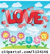 Poster, Art Print Of Red Word Love With Valentines Day Hearts Over Flowers