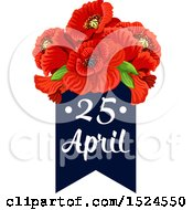 Clipart Of A Red Poppy Flower Anzac Day Design Royalty Free Vector Illustration by Vector Tradition SM