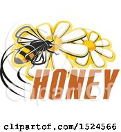 Clipart Of A Bee With Honey Text Royalty Free Vector Illustration