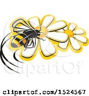 Clipart Of A Bee On Flowers Royalty Free Vector Illustration