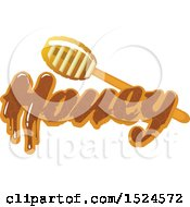 Clipart Of A Honey Dipper And Text Royalty Free Vector Illustration by Vector Tradition SM