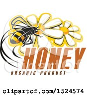 Clipart Of A Bee With Honey And Organic Product Text Royalty Free Vector Illustration