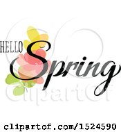 Clipart Of A Hello Spring Design With Flowers Royalty Free Vector Illustration