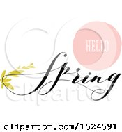 Hello Spring Design With Green Leaves