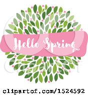 Hello Spring Banner Over Green Leaves And Pink Flowers