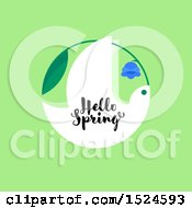 Poster, Art Print Of Hello Spring Design A Dove And Bluebell Flower On Green
