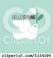 Clipart Of A Hello Spring Design A Dove And Twig On Green Royalty Free Vector Illustration