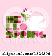 Clipart Of A Hello Spring Design A Dove And Flowers On Pink Royalty Free Vector Illustration