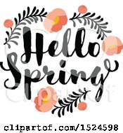 Poster, Art Print Of Hello Spring Design With A Floral Peony Heart