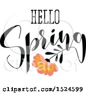 Clipart Of A Hello Spring Design With A Flower Royalty Free Vector Illustration