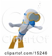 White Person Swimming Underwater While Scuba Diving Wearing Goggles Flippers And An Oxygen Tank Clipart Illustration Image
