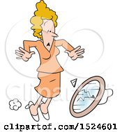Clipart Of A Superstition Scene Of A Woman Dropping And Breaking A Mirror Royalty Free Vector Illustration