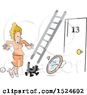 Clipart Of A Superstition Scene Of A Black Cat Crossing An Unlucky Womans Path Ladder Door Number 13 And A Broken Mirror Royalty Free Vector Illustration by Johnny Sajem