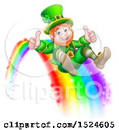 Clipart Of A St Patricks Day Leprechaun Giving Two Thumbs Up And Sliding Down A Rainbow Royalty Free Vector Illustration by AtStockIllustration