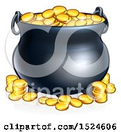 Clipart Of A St Patricks Day Leprechaun Pot Of Gold Royalty Free Vector Illustration by AtStockIllustration