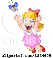 Cartoon Excited Blond Girl Chasing A Butterfly