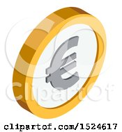 Clipart Of A 3d Isometric Euro Coin Icon Royalty Free Vector Illustration by beboy