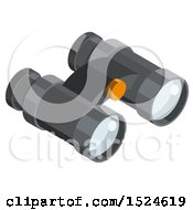 Clipart Of A 3d Isometric Binoculars Icon Royalty Free Vector Illustration