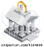 3d Isometric Euro Coin Over A Bank Icon