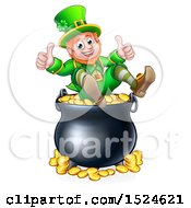 Clipart Of A St Patricks Day Leprechaun Giving Two Thumbs Up On Top Of A Pot Of Gold Royalty Free Vector Illustration by AtStockIllustration