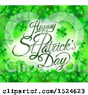 Clipart Of A Happy St Patricks Day Greeting In A Border Of Shamrocks Royalty Free Vector Illustration by AtStockIllustration