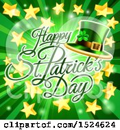 Happy St Patricks Day Greeting Over A Green Ray Burst With Stars And A Leprechaun Hat