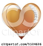 Clipart Of A Brown American Football Heart Royalty Free Vector Illustration by AtStockIllustration