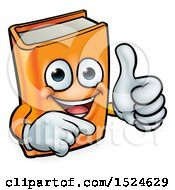 Clipart Of A Happy Orange Book Character Mascot Giving A Thumb Up And Pointing Royalty Free Vector Illustration