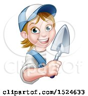 Clipart Of A Female Mason Holding A Trowel Around A Sign Royalty Free Vector Illustration by AtStockIllustration