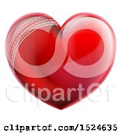 Clipart Of A Heart Shaped Cricket Ball Royalty Free Vector Illustration