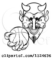 Poster, Art Print Of Black And White Grinning Evil Devil Holding Out A Basketball In A Clawed Hand