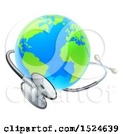 Clipart Of A 3d World Earth Globe With A Medical Stethoscope Royalty Free Vector Illustration