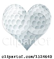 Clipart Of A Heart Shaped Golf Ball Royalty Free Vector Illustration by AtStockIllustration