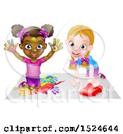 Clipart Of A Black Girl Finger Painting And White Girl Playing With A Toy Car Royalty Free Vector Illustration