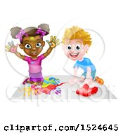 Clipart Of A Black Girl Finger Painting And White Boy Playing With A Toy Car Royalty Free Vector Illustration