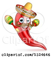 Cartoon Spicy Hot Red Chili Pepper Mascot Wearing A Sombrero Hat And Shaking Mexican Maracas