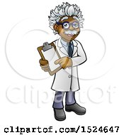 Clipart Of A Happy Male Scientist Or Doctor Holding A Clip Board Royalty Free Vector Illustration by AtStockIllustration