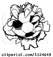Clipart Of Black And White Monster Claws Ripping Through Metal With A Soccer Ball Royalty Free Vector Illustration