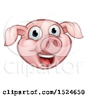 Clipart Of A Happy Pink Pig Mascot Face Royalty Free Vector Illustration by AtStockIllustration