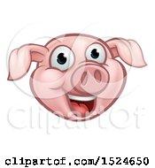 Happy Pink Pig Mascot Face