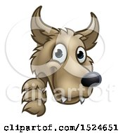 Clipart Of A Wolf Face Mascot Looking Around A Corner From The Three Little Pigs Story Royalty Free Vector Illustration