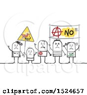 Clipart Of A Stick Family Protesting With Signs Royalty Free Vector Illustration
